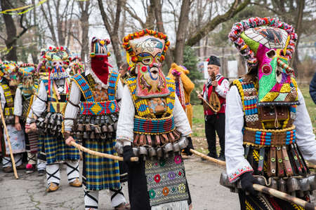 People in traditional carnival kuker costumes