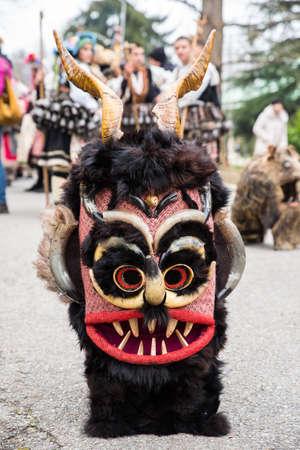 Kukeri mask. Yambol, Bulgaria