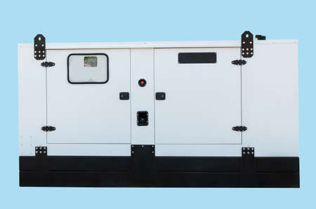 Generator for emergency electric power. Isolated on blue background.