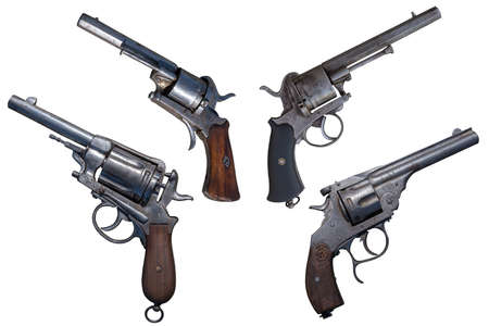 Ancient revolvers. Four old weapon isolated.