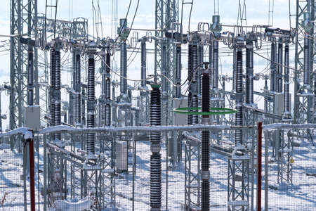 Power substation in the winter.