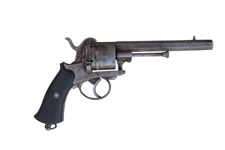 Old revolver. Ancient firearm.