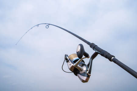 Fishing rod with reel.