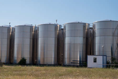Storage tanks of products for alcohol-based hand sanitizer.