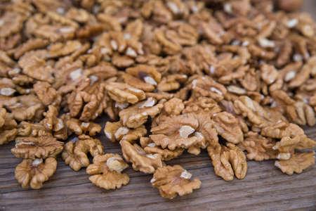Closeup of shelled walnuts pile