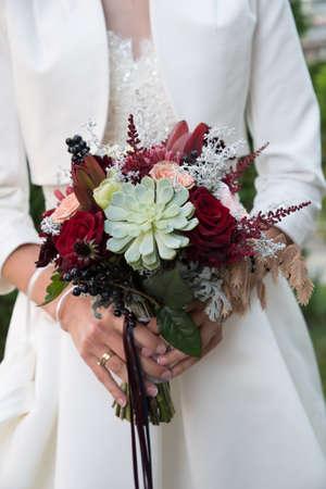 Bride with bridal bouquet.