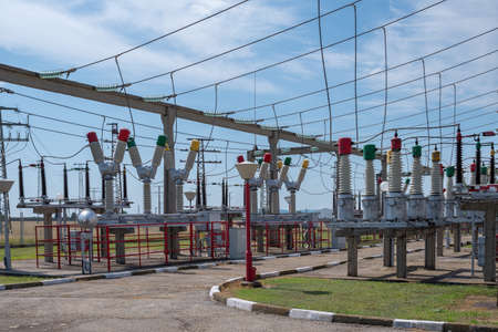Electrical power substation in a power grid. 免版税图像
