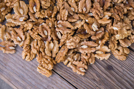 shelled walnuts pile