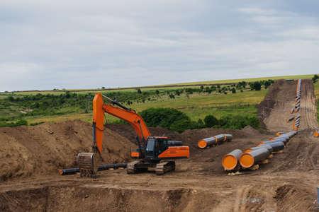 Construction works for gas pipeline Balkan stream in Bulgaria 免版税图像