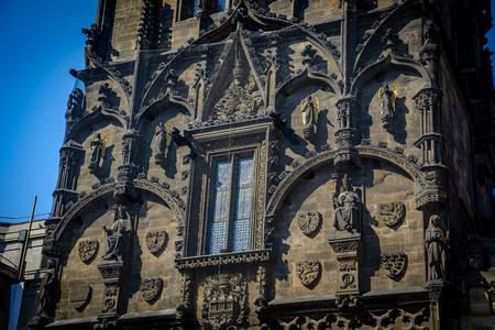 A closeup on the Powder Tower, Prague, Czech Republic