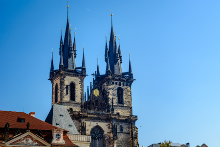 The towers of Church of Our Lady before Tyn in Prague, Czech Republic