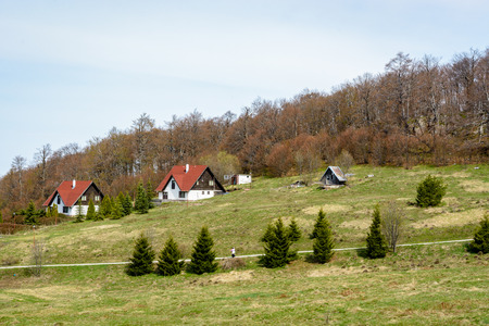 Mountain hut and villas on a hill with pine trees in the foreground and leafless trees in the background