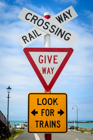 Railway crossing, Give way, Look for trains sign