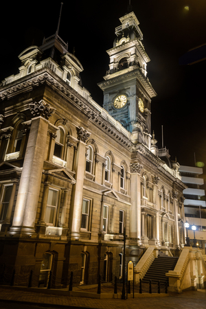 Dunedin Town Hall at night, Dunedin, New Zealand