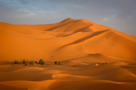 Sunrise at Erg Chebbi sand dune of Sahara, Merzouga, Morocco Reklamní fotografie