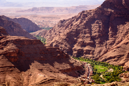 Photo from a hill overlooking the Dades oasis. Dades Gorge, Morocco Reklamní fotografie