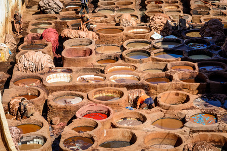 Leather Tanneries - where skins are processed into leather, Fez, Morocco