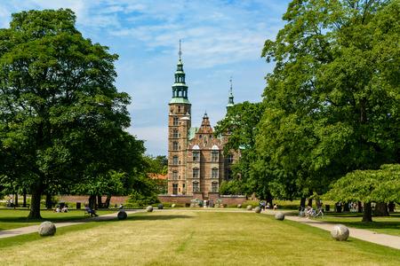 COPENHAGEN, DENMARK - June 23, 2016: Rosenborg Castle and Gardens in Copenhagen. The castle was originally built as a country summerhouse in 1606
