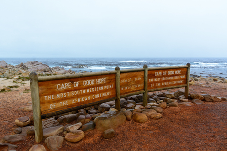 Cape of Good Hope sign - The most south-western point of the African continent. Cape Peninsula, South Africa