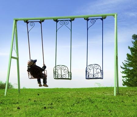 Boy on swing Stock Photo - 9534199