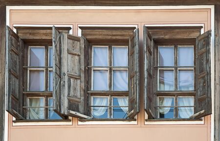 Three old windows Stock Photo - 9780152