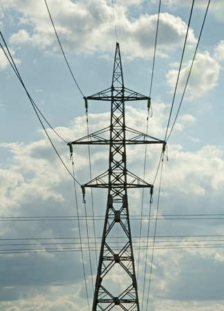 Metal electric pole on a blue sky background Stock Photo - 9819262
