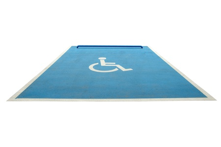 Wheelchair parking space.Isolated white background photo