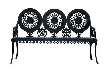 Metal ornamental bench isolated on white background Stock Photo - 9927002