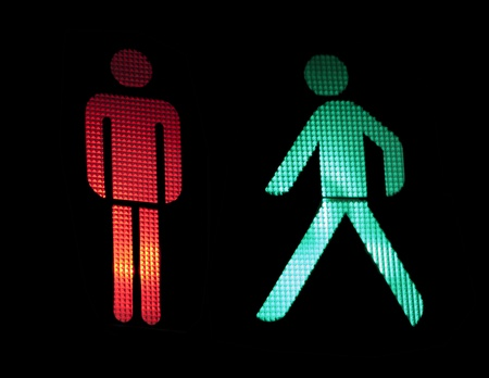 public safety: Traffic light of pedestrians. Isolated black