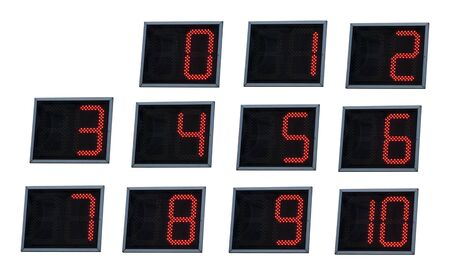 luminated digital numbers.Red color numbers photo