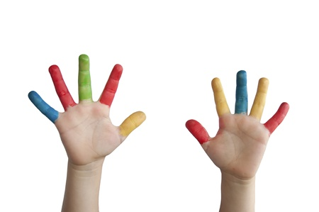 Children colored hands. White isolated Stock Photo - 9927238