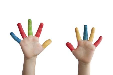 Kinderen gekleurde handen. White geïsoleerd