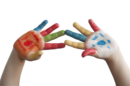Children colored hands. White isolated photo