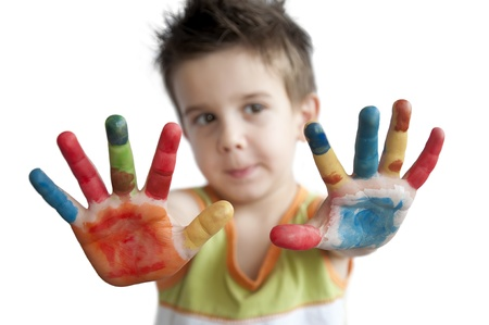 Children colored hands. Little boy hands.White isolated Stock Photo - 9927446