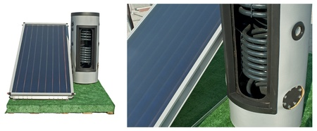 Solar batteries and heater. White isolated two images photo