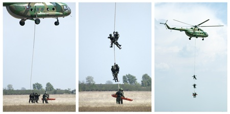 Military operation with helicopters. Rescue soldier. Tree images