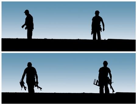 Bouwvakkers werken aan bouwplaats. Stockfoto
