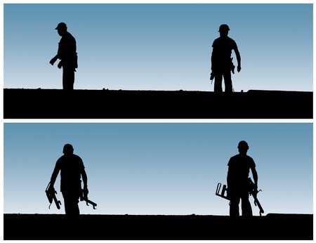 Construction workers work on building site. photo