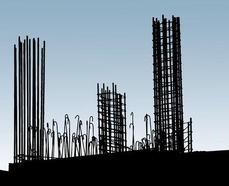 siderurgia: Refuerzo de acero en el sitio de construcci�n. Imagen Horisontal Foto de archivo