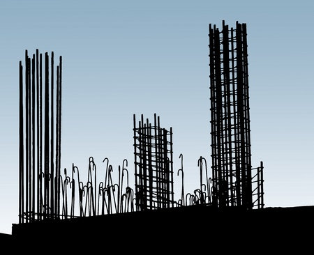 reinforcing bar: Reinforcing steel in construction site. Horisontal image