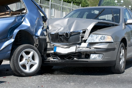 collision: Two cars crashed. Close up image Editorial