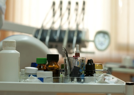 Dental supplies and equipment blurred on background photo