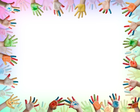 messy kids: Painted colorful hands . Frame with hands Stock Photo