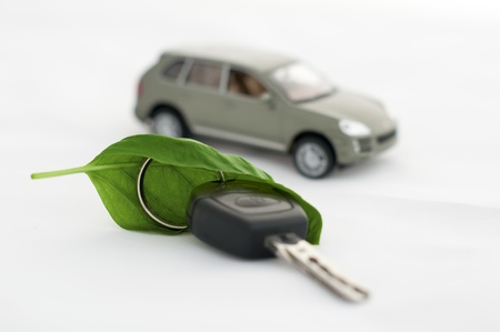 Green leaves and a car. Ecology conception. White isolated