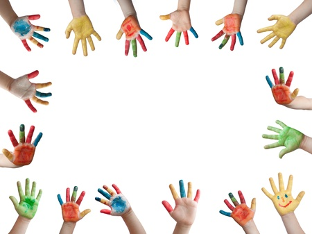 body language: Children painted hands