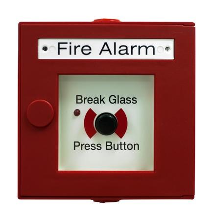 alerta: Bot�n de alarma de incendio. Blanco aislado