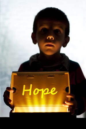 help me: Child and box shine light. Call for help and hope. Help me