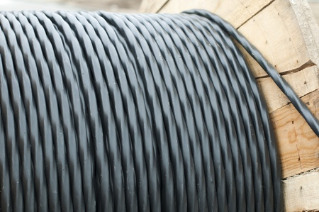 High voltage underground cables wound on reel. photo