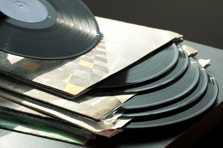 Discos de vinilo y luz covers.Natural photo