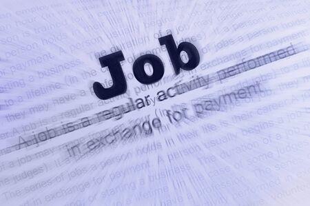 Text Job written on paper. Job conception photo
